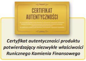 certyfikat autentyczności produktu potwierdzający niezwykłe właściwości Runicznego Otoczaka finansowego